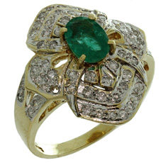Byzantine Style Diamond Genuine Emerald 14k Yellow Gold Flower Ring