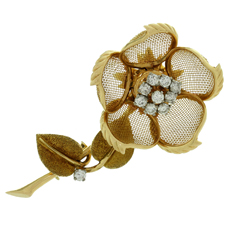 CARTIER Diamond 18k Yellow Gold Rose Flower Movable Brooch
