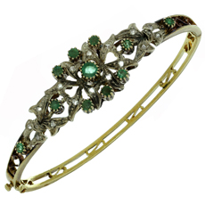 Emerald Rose-Cut Diamond 18k Yellow Gold Sterling Silver Bracelet