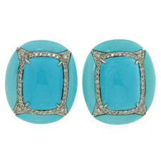 Diamond Turquoise 18k White Gold Clip-on Earrings