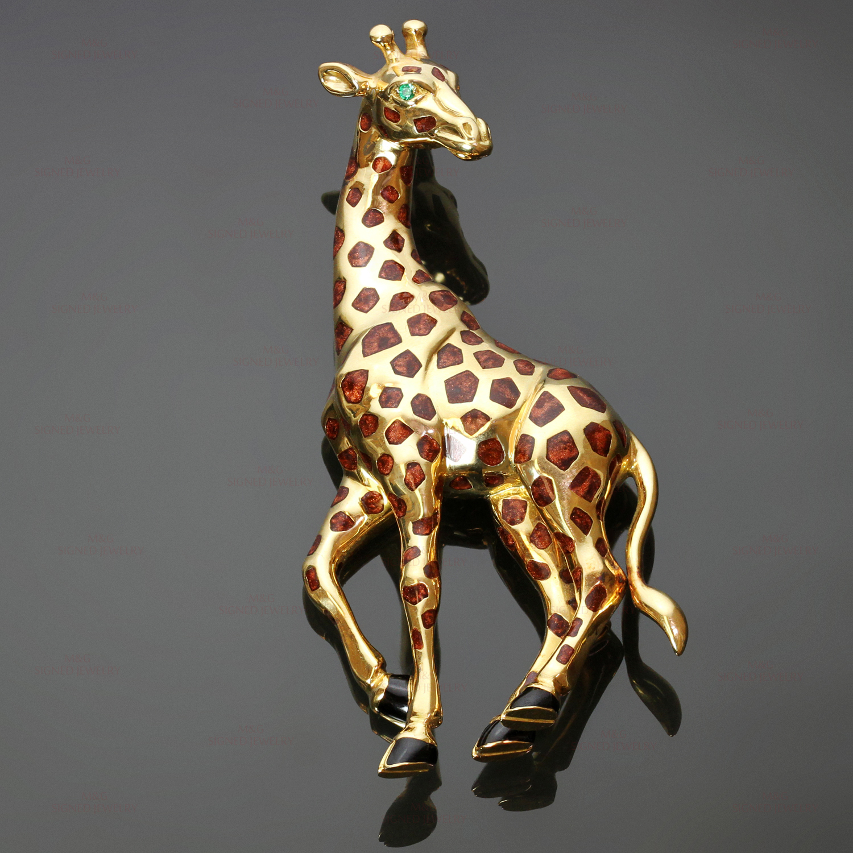 b7f65f23127d7 CARTIER Enamel Emerald 18k Yellow Gold Giraffe Brooch
