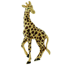 CARTIER Enamel Emerald 18k Yellow Gold Giraffe Brooch