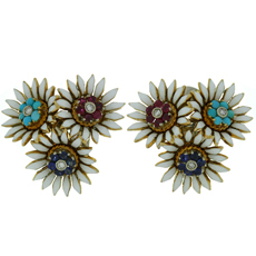 Diamond Multicolor Gemstone Enamel Yellow Gold Italian 1940s Flower Earrings