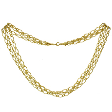 18k Yellow Gold 3-Row Link Necklace