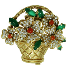 VAN CLEEF & ARPELS Diamond  Coral Chalcedony Gold Bouquet Brooch