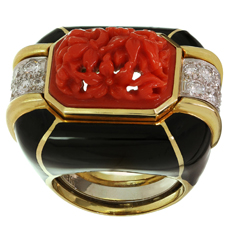 DAVID WEBB Diamond Coral Enamel 18k Yellow Gold Platinum Ring