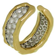 VAN CLEEF & ARPELS Diamond 18k Yellow Gold Open Band Ring