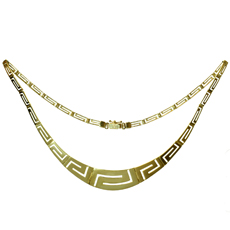 14k Yellow Gold Geometric Necklace
