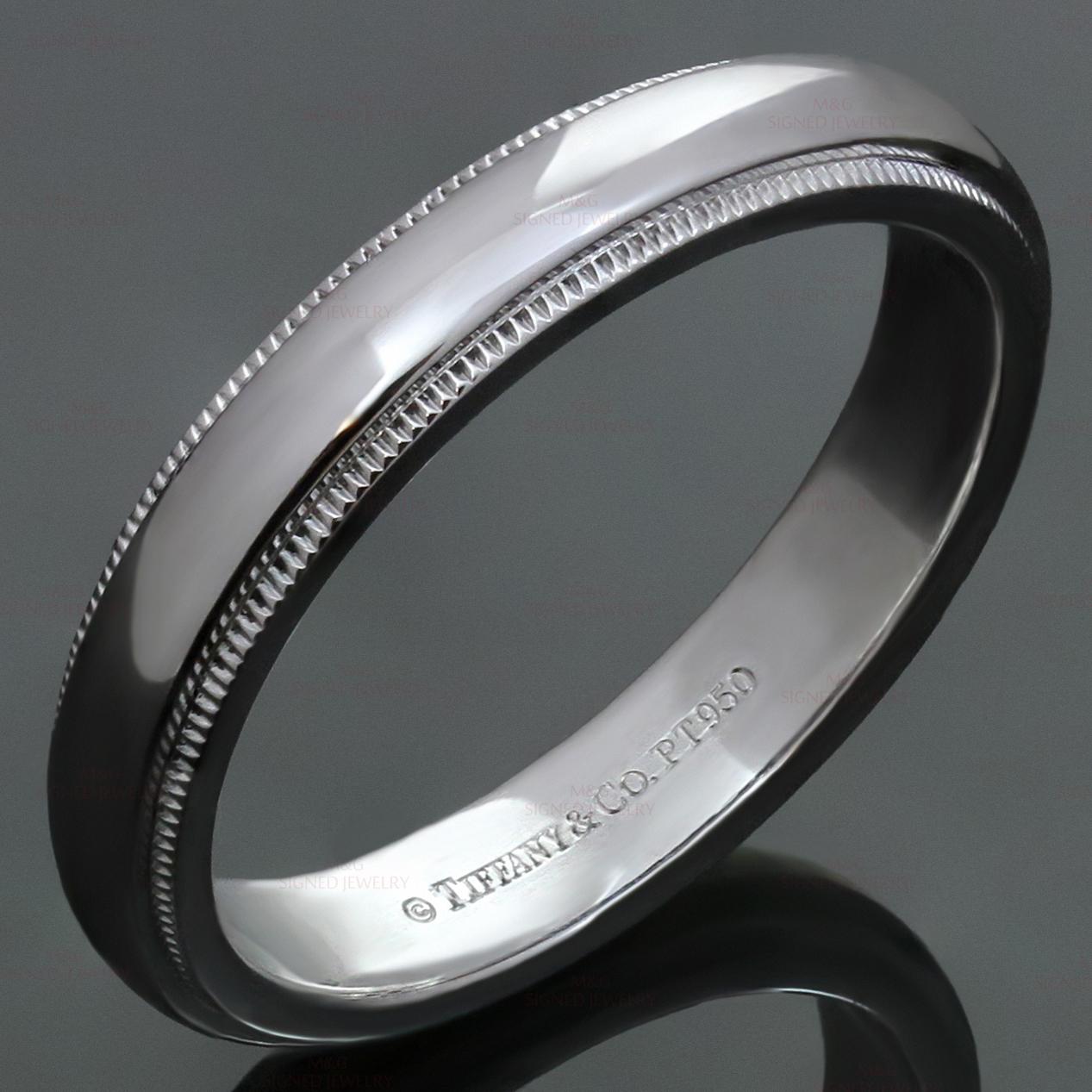 Tiffany Platinum Milgrain Mens Wedding Band Ring Mtsj12281