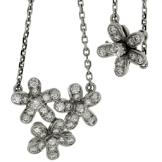 VAN CLEEF & ARPELS Socrate Diamond 18k White Gold 3-Flower Pendant Necklace