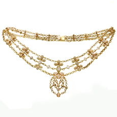 CHATILA Diamond 18k Yellow Gold Evening Necklace