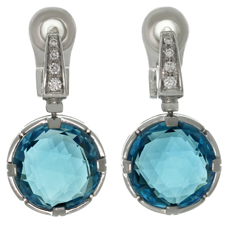 BULGARI Parentesi Diamond Blue Topaz 18k White Gold Drop Earrings