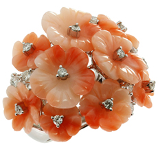 Natural Carved Pink Coral Diamond Flower 18k White Gold Ring