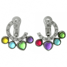 BULGARI Allegra Multicolor Gemstone 18k White Gold Earrings