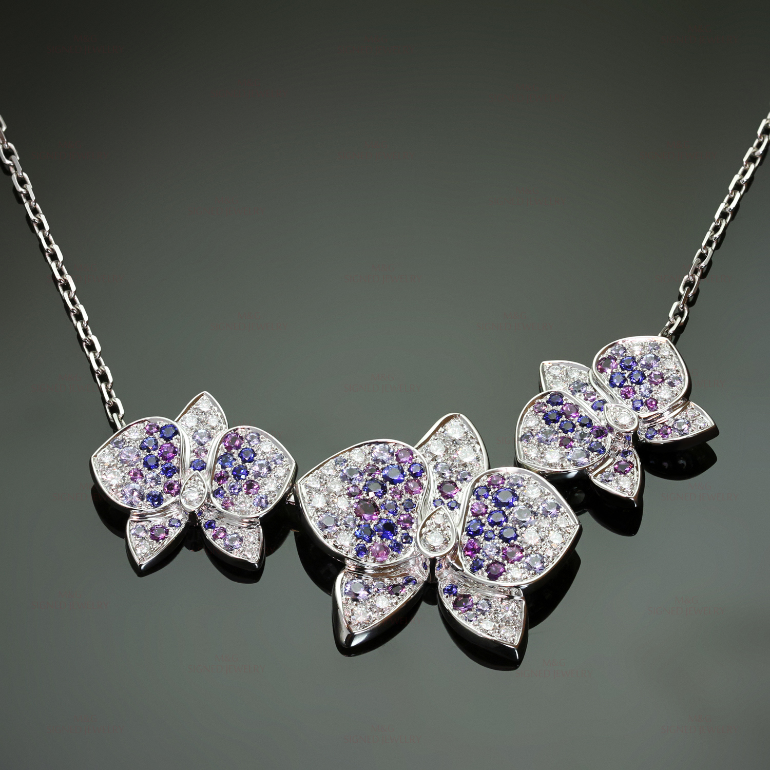 CARTIER Caresse D'Orchidees Diamond Sapphire Amethyst Necklace