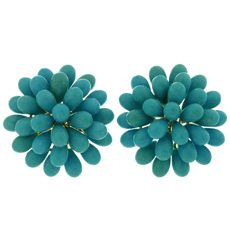 Vintage Natural Turquoise Cluster 18k Yellow Gold Earrings
