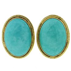 Retro Oval Cabochon Turquoise Clip-on Earrings 1960s