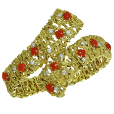 Vintage Oxblood Coral Diamond 18k Yellow Gold Bracelet
