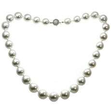 South Sea Pearl Diamond 18k White Gold Clasp Necklace