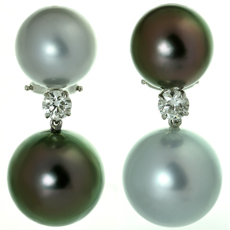 Tahitian Double Pearl Diamond 18k White Gold Earrings