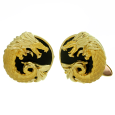 CARRERA Y CARRERA Black Onyx 18k Yellow Gold Dragon Cufflinks