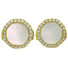 VAN CLEEF & ARPELS Mother-of-Pearl Diamond 18k Yellow Gold Octagon Cufflinks