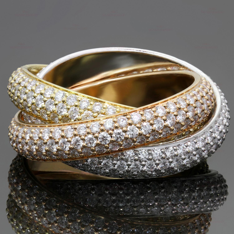 905e6ea79a3ca CARTIER Trinity Pave Diamond 18k Tri-Color Gold Band Ring