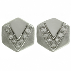 Diamond 14k White Gold Pentagonal Earrings