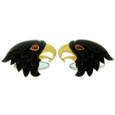 CARRERA Y CARRERA Eagle Ruby 18k White Yellow Gold Cufflinks