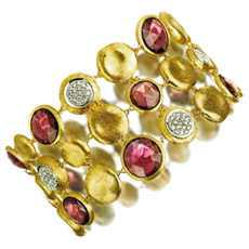 MARCO BICEGO Jaipur Diamond Garnet 18K Yellow Gold 3-Row Bracelet