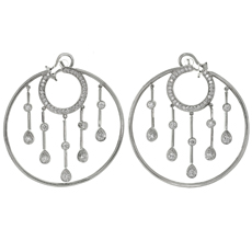 CHANEL La Pluie Diamond 18k White Gold Hoop Earrings