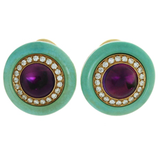 BULGARI Diamond Amethyst Turquoise 18k Yellow Gold Earrings