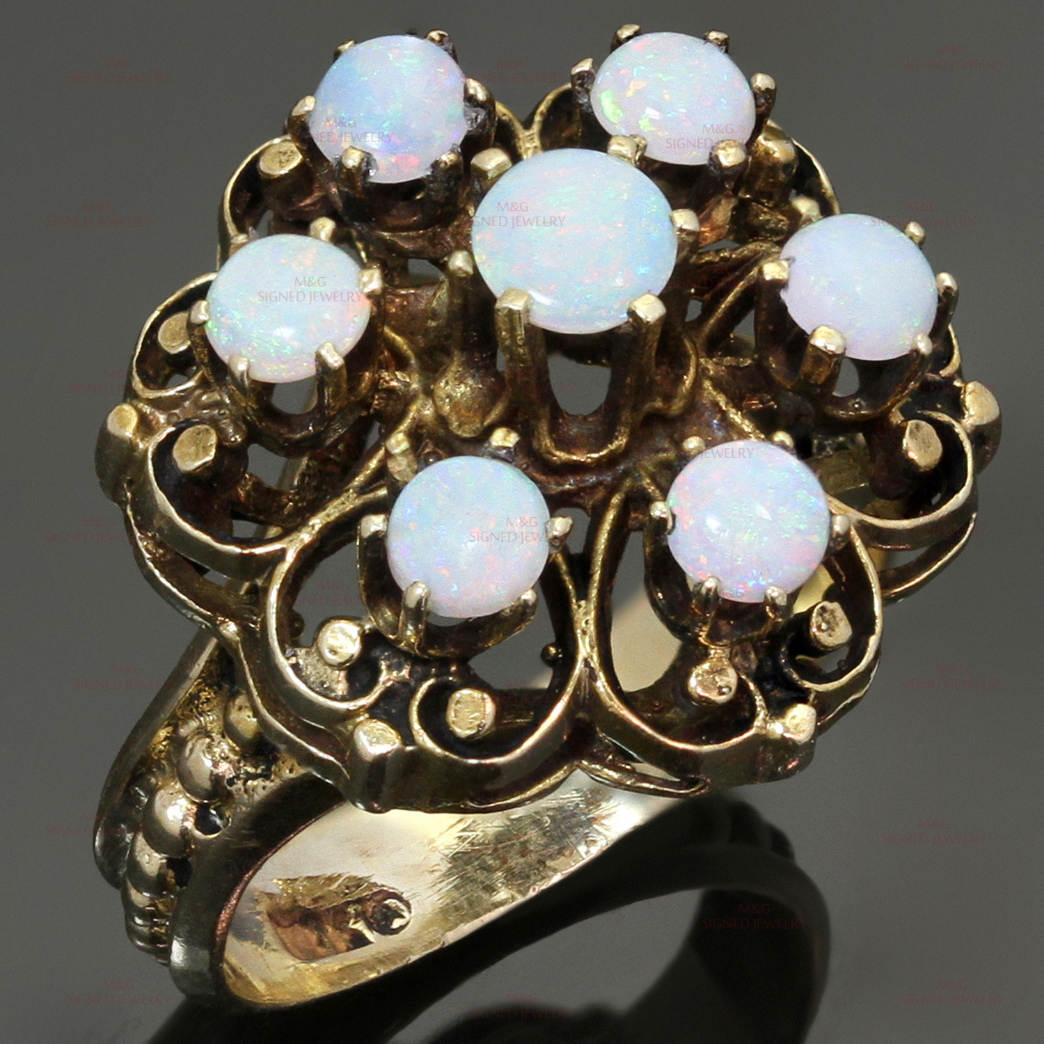 Opal 14k Yellow Gold Hand-Crafted Ring