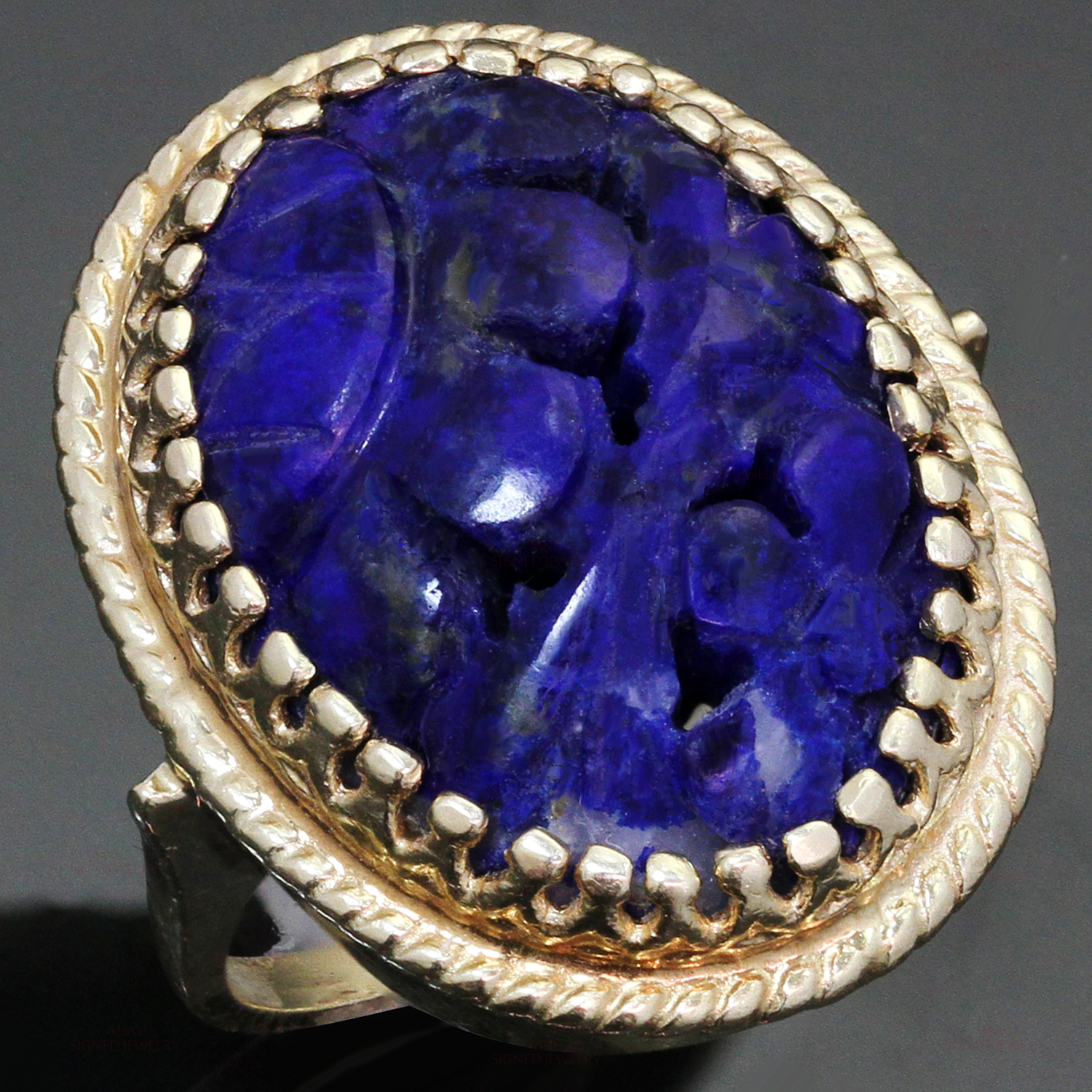 Hand-Carved Natural Lapis Lazuli 14K Yellow Gold Cocktail Ring