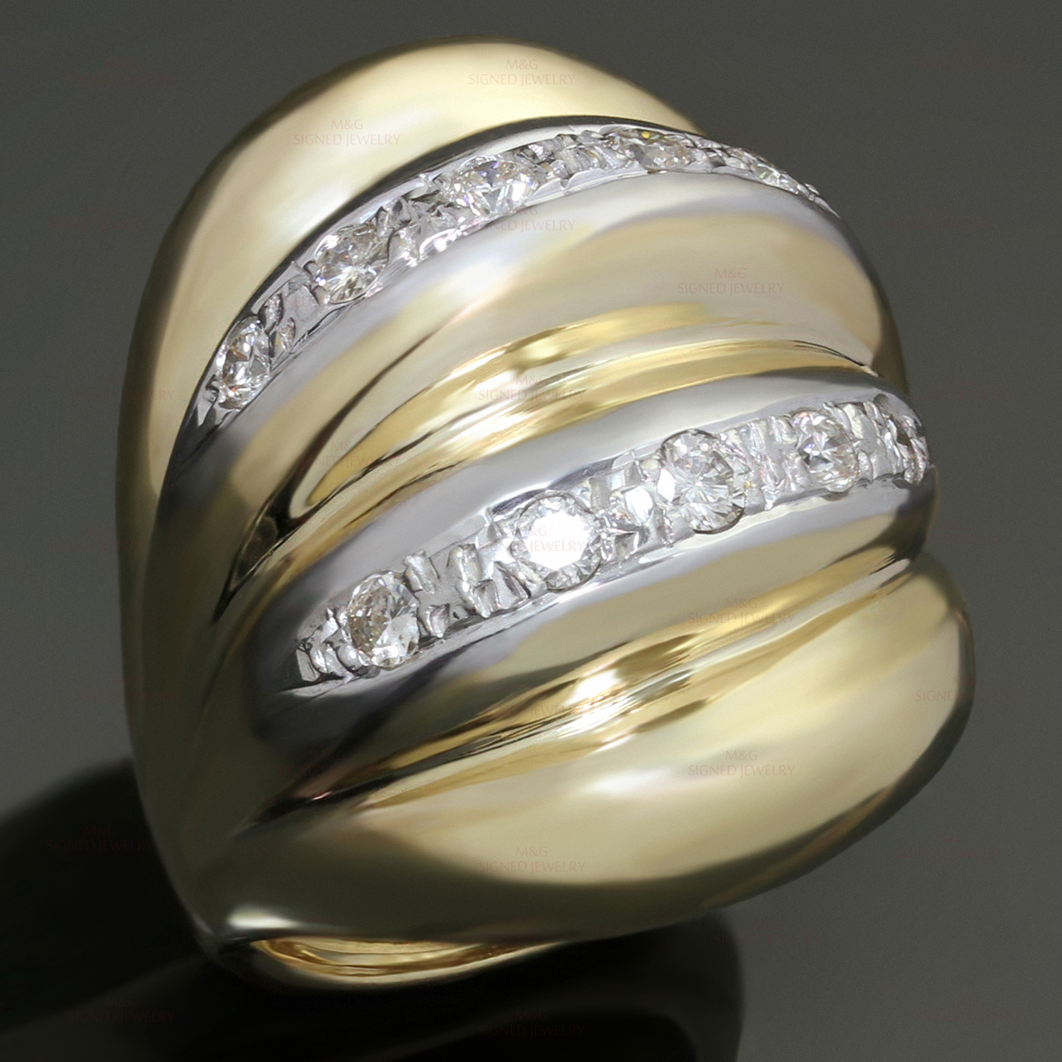 Diamond 14k Yellow Gold Fluted Domed Ring