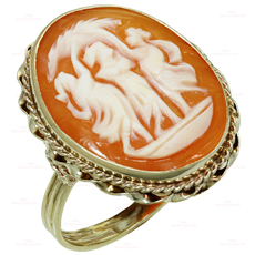Three Graces Shell Cameo 14k Yellow Gold Ring
