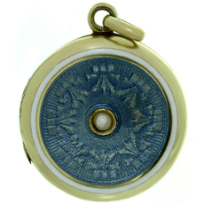 Antique Art Nouveau Guilloche Enamel 14k Yellow Gold Locket