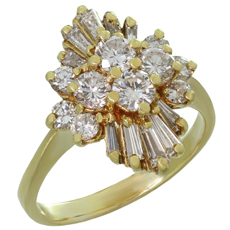 Diamond Marquise-Shaped Cluster 18k Yellow Gold Ring
