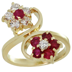 Diamond Ruby Two Flower 14k Yellow Gold Ring
