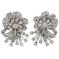 Retro Diamond Platinum White Gold Clip-on Earrings