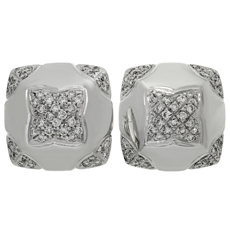 BULGARI Pyramid Diamond 18k White Gold Earrings