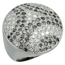 CARTIER Pave White & Black Diamond 18k White Gold Dome Ring