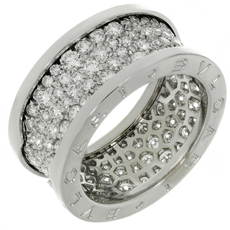 BULGARI B.ZERO1 Diamond 18k White Gold Band Ring