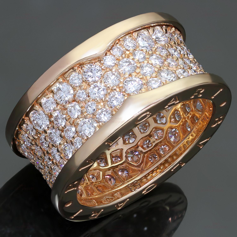 Bulgari B Zero1 Diamond 18k Rose Gold Band Ring