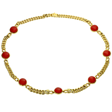 Red Quartz 18k Yellow Gold Curb Chain Italian Necklace
