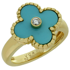 VAN CLEEF & ARPELS Vintage Alhambra Diamond Turquoise 18k Yellow Gold Ring
