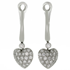 TIFFANY & CO. Diamond Platinum French Heart Earrings