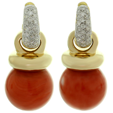 Diamond Huggie Detachable Natural 13mm Coral Charms Earrings