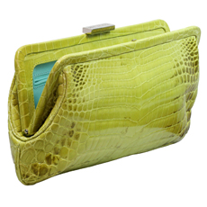 TIFFANY & CO. Holly Bright Lime Color Glazed Crocodile Clutch Purse