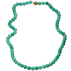 Natural Turquoise Cultured Pearl Yellow Gold Bead Necklace GIA